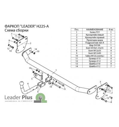 Фаркоп на Hyundai Elantra H225-A