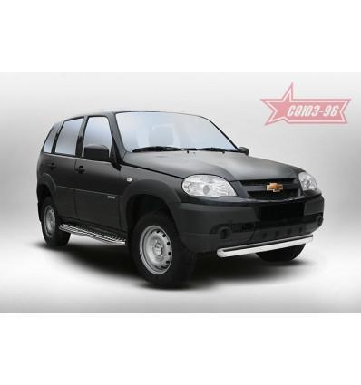 """Защита переднего бампера """"труба"""" овальная на Chevrolet Niva CN14.48.5143"""
