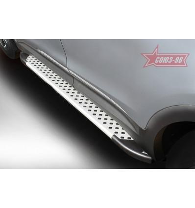 Пороги алюминиевый профиль на Hyundai Grand Santa Fe HGSF.83.5112