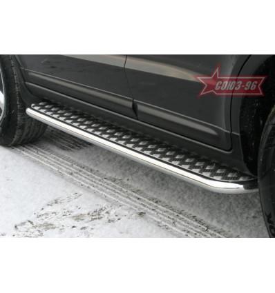 Пороги с листом на Hyundai Santa Fe HSFE.82.0324