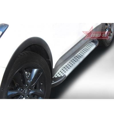 Пороги алюминиевый профиль на Hyundai Santa Fe HYSF.82.1622