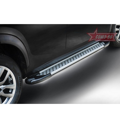 Пороги алюминиевый профиль на Mitsubishi Pajero IV MIPJ.83.5070