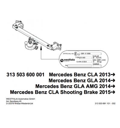 Фаркоп на Mercedes GLA 313503600001