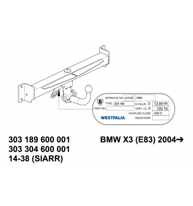 Фаркоп на BMW X3 303304600001