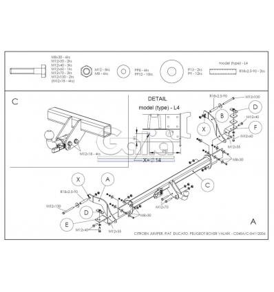Оцинкованный фаркоп на Citroen Jumper 3 C045A