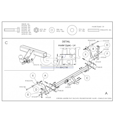 Оцинкованный фаркоп на Fiat Ducato 3 C045A