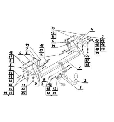 Фаркоп на Mitsubishi Pajero M-352