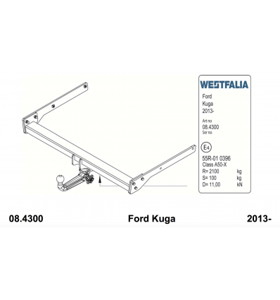 Фаркоп на Ford Kuga 307474600001