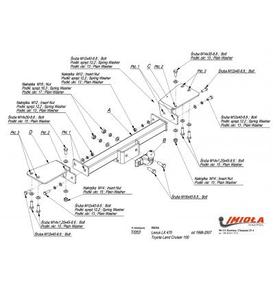 Фаркоп на Toyota Land Cruiser 100 T/053