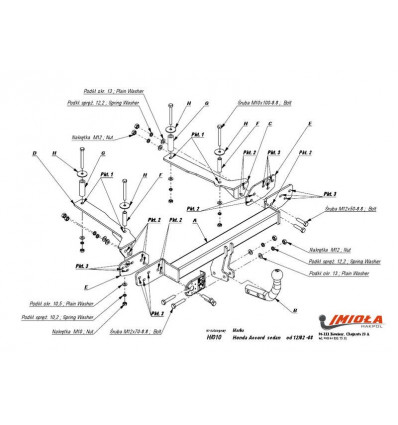 Фаркоп на Honda Accord H/010
