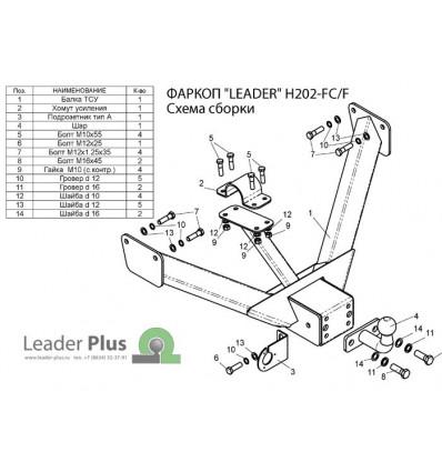 Фаркоп для Hyundai Porter 1/ (Тагаз)