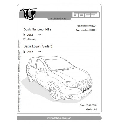 Фаркоп на Renault Sandero 038-991