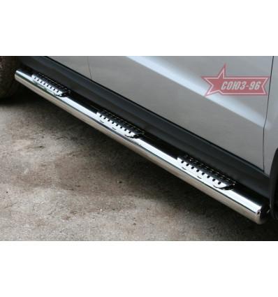 Пороги труба на Hyundai Santa Fe HYSF.84.1152