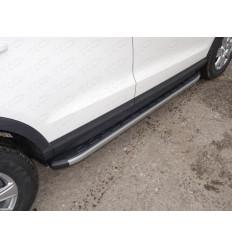 Пороги алюминиевые с пластиковой накладкой (карбон серые) на Audi Q3 AUDIQ315-01GR