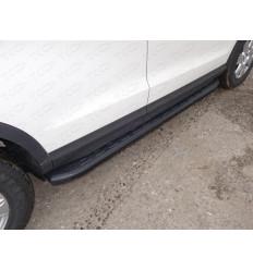 Пороги алюминиевые с пластиковой накладкой (карбон черные) на Audi Q3 AUDIQ315-01BL