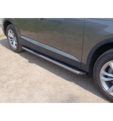 Пороги алюминиевые с пластиковой накладкой (карбон серые) на Audi Q7 AUDIQ715-01GR