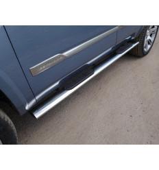 Пороги овальные с накладкой на Cadillac Escalade CADESC15-11