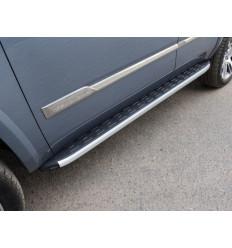 Пороги алюминиевые с пластиковой накладкой на Cadillac Escalade CADESC15-14AL