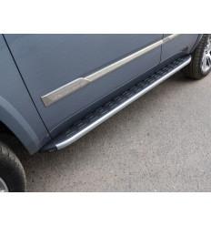Пороги алюминиевые с пластиковой накладкой (карбон серебро) на Cadillac Escalade CADESC15-14SL