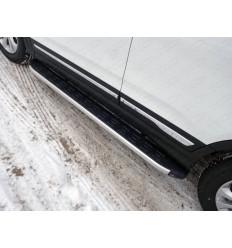 Пороги алюминиевые с пластиковой накладкой на Chery Tiggo 5 CHERTIG514-17AL