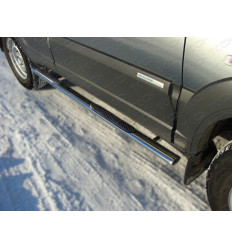 Пороги овальные с накладкой на Chevrolet Niva CHEVNIV12-08