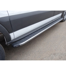 Порог алюминиевый с пластиковой накладкой (карбон серые) на Ford Transit FORTRAN16-05GR