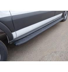 Порог алюминиевый с пластиковой накладкой (карбон черные) на Ford Transit FORTRAN16-05BL
