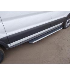 Порог алюминиевый с пластиковой накладкой на Ford Transit FORTRAN16-07AL