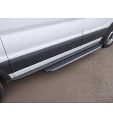 Порог алюминиевый с пластиковой накладкой (карбон черные) на Ford Transit FORTRAN16-07BL