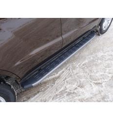 Пороги алюминиевые с пластиковой накладкой на Geely Emgrand X7 GEELEMGX715-17AL