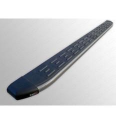 Пороги алюминиевые с пластиковой накладкой (карбон серые) на Geely Emgrand X7 GEELEMGX715-17GR