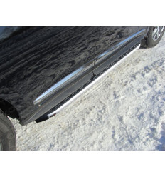 Пороги алюминиевые с пластиковой накладкой на Infiniti QX60 INFJX3513-22AL