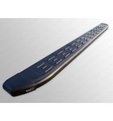 Пороги алюминиевые с пластиковой накладкой (карбон черные) на Infiniti QX60 INFJX3513-22BL