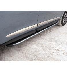 Пороги алюминиевые с пластиковой накладкой (карбон серые) на Infiniti QX60 INFQX6016-44GR