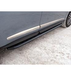 Пороги алюминиевые с пластиковой накладкой (карбон черные) на Infiniti QX60 INFQX6016-45BL