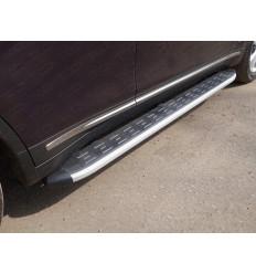 Пороги алюминиевые с пластиковой накладкой на Infiniti QX70 INFQX7015-09AL