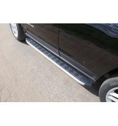 Пороги алюминиевые с пластиковой накладкой (из 2-х мест) на Jeep Compass JEEPCOM14-04AL