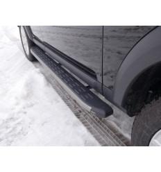 Пороги алюминиевые с пластиковой накладкой (карбон серые) на Land Rover Discovery LRDIS15-05GR