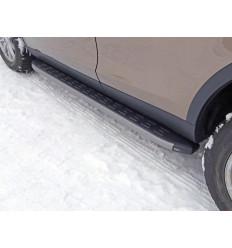 Пороги алюминиевые с пластиковой накладкой (карбон серые) на Land Rover Discovery Sport LRDISSPOR15-05GR