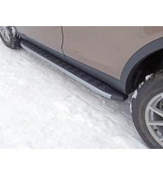 Пороги алюминиевые с пластиковой накладкой (карбон серебро) на Land Rover Discovery Sport LRDISSPOR15-05SL