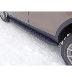 Пороги алюминиевые с пластиковой накладкой (карбон черные) на Land Rover Discovery Sport LRDISSPOR15-05BL