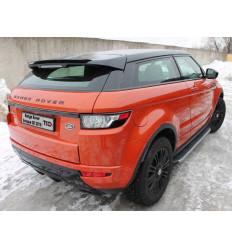Пороги алюминиевые с пластиковой накладкой (карбон серебро) на Land Rover Evoque LREVO3D15-01SL