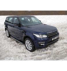 Пороги алюминиевые с пластиковой накладкой (карбон серебро) на Land Rover Range Rover Sport LRRRSP15-07SL