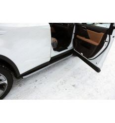 Пороги алюминиевые с пластиковой накладкой (карбон серебро)на Lexus RX LEXRX200t15-10SL