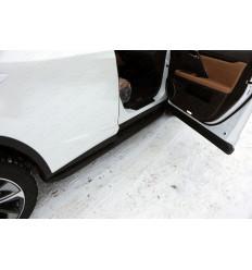 Пороги алюминиевые с пластиковой накладкой (карбон черные) на Lexus RX LEXRX200t15-10BL