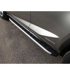 Пороги алюминиевые с пластиковой накладкой на Lexus NX LEXNX300H14-19AL