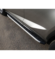 Пороги алюминиевые с пластиковой накладкой на Lexus NX LEXNX20015T-19AL