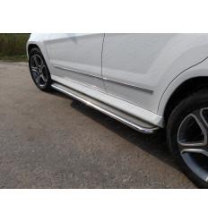Пороги с площадкой (нерж. лист)  на Mercedes GLK MERGLK220D14-06