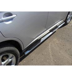 Пороги овальные с накладкой на Opel Antara OPANT12-10