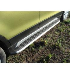 Пороги алюминиевые с пластиковой накладкой (из 2-х мест) на Suzuki SX4 SUZSX414-08AL